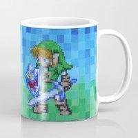 8bit Mugs featuring 8bit Link by Cariann Dominguez