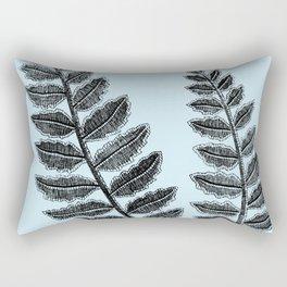 Black Lace Fern Powder Blue Rectangular Pillow