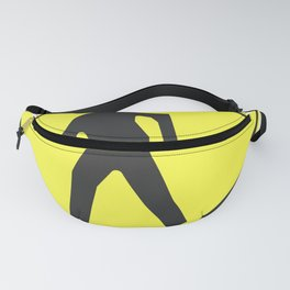 """""""pedestrian ahead"""" - 3d illustration of yellow roadsign isolated on white background Fanny Pack"""