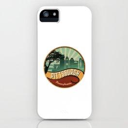 Pittsburgh City Skyline Pennsylvania Retro Vintage Design iPhone Case
