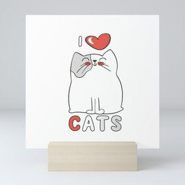 I Love Cats Big Red Heart Mini Art Print