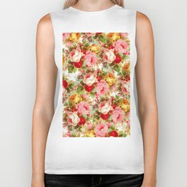 Boho chic pink yellow red roses floral vintage painting Biker Tank