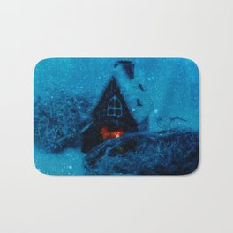 Small house in the snowy prairie- Christams winter image  Bath Mat