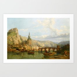 George Clarkson Stanfield (London 1828 - London 1878), A View of Dinant, Belgium Art Print