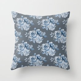 Blue Roses on Grey Throw Pillow