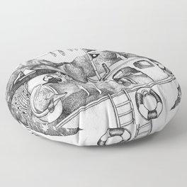 Fox on Fishing-boat Floor Pillow