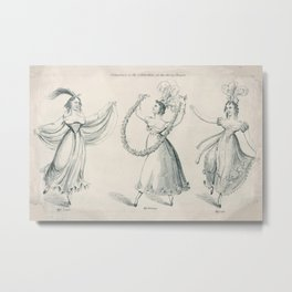 The Dancers, young women, black white drawing Metal Print