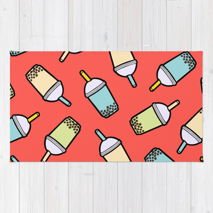 Bubble Tea Pattern in Red Rug