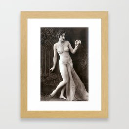 Vintage Risque Nude Art Study Lady In Pearls R19 Framed Art Print