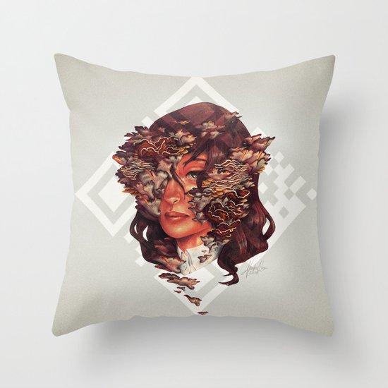 Medusoid mycelium Throw Pillow