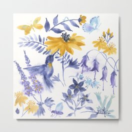 Blue and Yellow Garden Snippets Metal Print