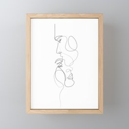 Lovers - Minimal Line Drawing Art Print 2 Framed Mini Art Print