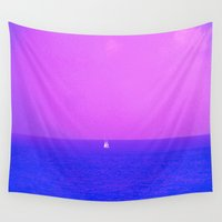 sailboat Wall Tapestries featuring MYSTIC SAILBOAT by ....