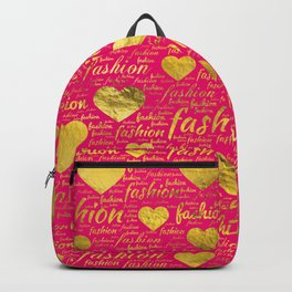 Fashion Word Art witth Gold hearts on Bright Pink, Backpack