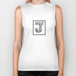 Zentangle J Monogram Alphabet Initials Biker Tank