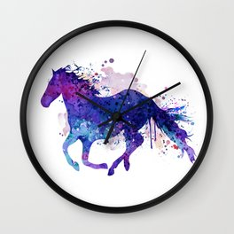Running Horse Watercolor Silhouette Wall Clock