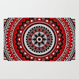 Red and Black Mandala Rug