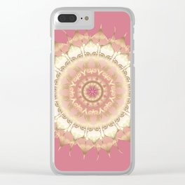 Delicate Gold Rose Mandala on Rose Pink Clear iPhone Case