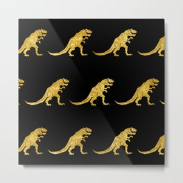Golden T.Rex Pattern Metal Print