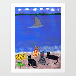 Cats on the Beach Art Print