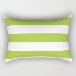 Android green - solid color - white stripes pattern Rectangular Pillow