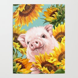 Baby Pig with Sunflowers in Blue Poster