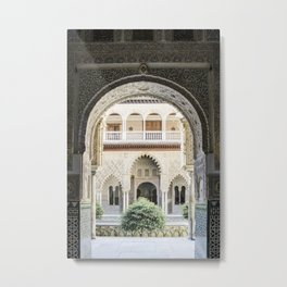 Portal to inner patio - Alcazar of Seville Metal Print