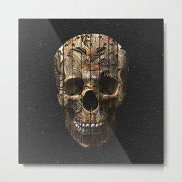 Vintage American Tattoo Skull Wood Stripes Texture Metal Print