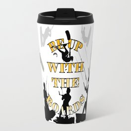 Be Up With The Boards Yellow Text And Kitesurfer Vector Travel Mug