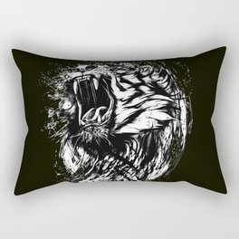 Angry Tiger Black and white Rectangular Pillow