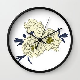 Botanical floral illustration line drawing - Peony Wall Clock