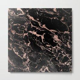 Modern girly faux rose gold foil black marble Metal Print