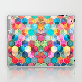 Crystal Bohemian Honeycomb Cubes - colorful hexagon pattern Laptop & iPad Skin