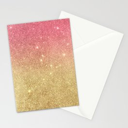 Pink abstract gold ombre glitter Stationery Cards