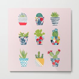 Funny cacti illustration Metal Print