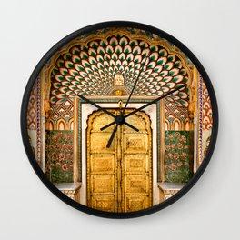 Lotus gate door in pink city at City Palace of Jaipur, India Wall Clock