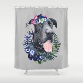 Flower power great Dane Shower Curtain