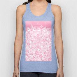 Modern white floral lace mandala pink watercolor illustration pattern Unisex Tank Top