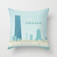 Vintage Chicago Travel Poster Throw Pillow