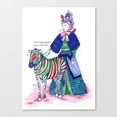 Lady and her zebra Canvas Print