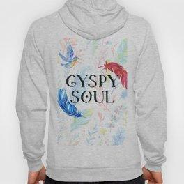 Gypsy Soul - Boho Watercolor Feathers Hippy Heart Hoody