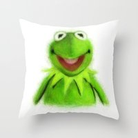 kermit Throw Pillows featuring Kermit by KitschyPopShop