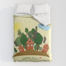 Sunny summer day in the village Comforters