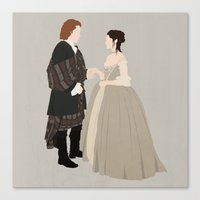 outlander Canvas Prints featuring Outlander, Jamie and Claire by carolam