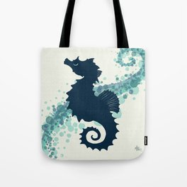 """Seahorse Silhouette"" ` digital illustration by Amber Marine, (Copyright 2015) Tote Bag"
