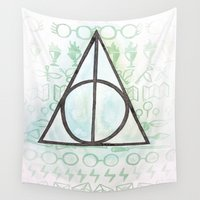 deathly hallows Wall Tapestries featuring Deathly Hallows by Carmen McCormick