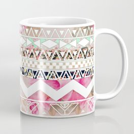 Aztec Spring Time! | Girly Pink White Floral Abstract Aztec Pattern Coffee Mug