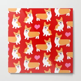 Pembroke Welsh Corgi Cute Red Pattern Metal Print