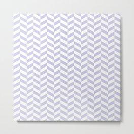 Periwinkle Purple Herringbone Pattern Metal Print