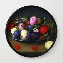 Still Life of Summer Plums on a Plate by Jacob van Hulsdonck Wall Clock